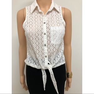 Guess collar button down tie front shirt